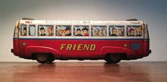 "Vintage Tin Toy World Children Bus ""FRIEND"" Japan Marusan  #Marusan"