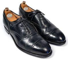 ALDEN Black Leather Perf Captoe Oxford Balmoral Mens Dress Shoes US 11.5 B/D #Alden #Oxfords