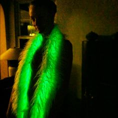 Glowing Fur Scarf - Electroluminescent - Light Up - Custom MADE TO ORDER - Rave - Burning Man - Snowboard/Ski - Cosplay - Festival