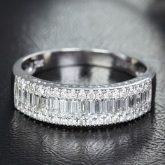 1.37ct Baguette/Round Cut Diamonds Channel/Pave Set by ThisIsLOGR, $1127.00