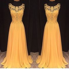 Highlight with crochet and hollow out make this dress is unique with others. Yellow color is bright and eye-catching, be stand out with it. #prom #eveningdress #lacedress