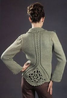 This could be an upcycle inspiration.  Add a square of crochet design to the back of a plain sweater...