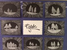 """4th Grade students had fun using white chalk on black paper today. We created a winter wonderland and added a neat """"frame"""" around them using chalk.  The Colorful Art Palette: Week 19 - Short week in the art room..."""