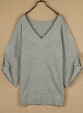 Grey V Neck Batwing Long Sleeve Buttons Sweater