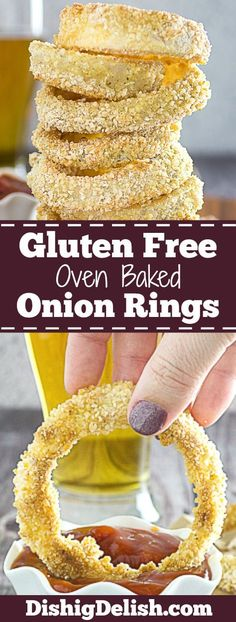 Crispy Oven Baked Gluten Free Onion Rings are a lighter, gluten free version of your favorite pub food. It's the perfect guilt-free snack! Best Gluten Free Recipes, Gluten Free Recipes For Dinner, Foods With Gluten, Gluten Free Cooking, Vegan Gluten Free, Snack Recipes, Paleo, Party Recipes, Cooking Recipes