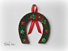 Juledekoration-papir quilling-Quilled hestesko-papir ornament