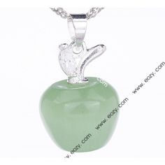 22x13mm 925 Sterling Silver Jewelry Dangle Green  Gemstone Apple Charm Pendant Silver Chain Necklace, Silver Jewelry, Christmas Bulbs, Perfume Bottles, Gemstone, Apple, Sterling Silver, Pendant, Holiday Decor