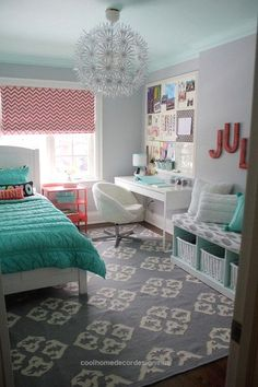 40+ Beautiful Teenage Girls' Bedroom Designs – For Creative Juice Coral and turquoise themed bedroom design for teenage girls. Bedroom and workplace just in one room. Functional and beautiful as its own. The pand .. http://www.coolhomedecordesigns.us/2017/06/21/40-beautiful-teenage-girls-bedroom-designs-for-creative-juice/