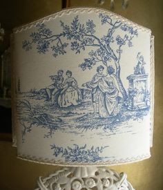 Blue French Toile de Jouy Shabby Chic Lampshade