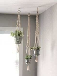 hanging plants indoor Handmade Boho Macrame Indoor Plant Hangers Bring the outdoors inside your home with these beaded macrame plant hangers. Perfect for those boho decor vibes. Indoor Plant Hangers, Hanging Planters, Indoor Plants, Hanging Succulents, Diy Hanging, Macrame Plant Holder, Plant Holders, Plant Wall, Plant Decor