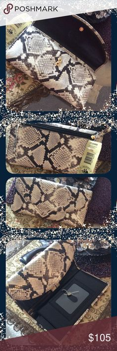 BRAHMINstunning  leather wallet/checkbook New, soft checkbook island Python, Brahmin Bags Wallets