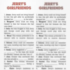 Seinfeld Theme Party download / Seinfeld Party / Jerry's Girlfriends Game / printable / Pro Party Planner / https://itunes.apple.com/us/app/pro-party-planner-event-planning/id526140208?mt=8