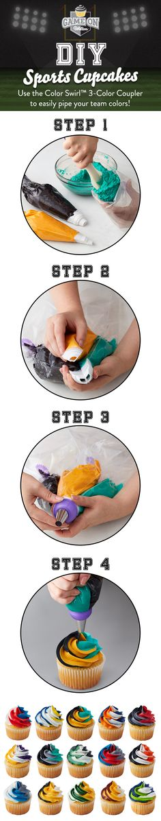 DIY Sports Cupcakes - Use the Color Swirl 3-Color Coupler to seamlessly blend icing in your team colors as you pipe. Simply fill each decorating bag with your color icing, connect the interlocking coupler pieces, secure with a ring, and swirl icing in one piping motion. It's the perfect tool when making game day cupcakes to show off your team pride!