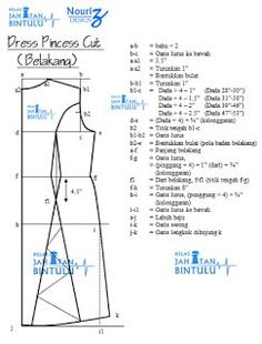 Tutorial, Tips, Hobi & Jahitan: Nota Pola Dress Princess Cut Princess Dress Patterns, Princess Cut Blouse, Dress Making Patterns, Skirt Patterns Sewing, Clothing Patterns, Pattern Dress, Pattern Drafting Tutorials, Sewing Tutorials, Dress Tutorials