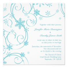 White teal snowflakes invitation