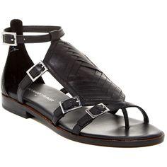 Donald J Pliner Leza Sandal - Multiple Widths Available (2383600 BYR) ❤ liked on Polyvore featuring shoes, sandals, black, leather ankle strap sandals, black buckle sandals, black leather shoes, criss-cross sandals and leather strap sandals
