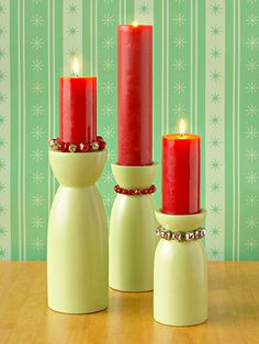 Add a little dazzle to a set of candlesticks by stringing bells around each candle or candleholder