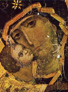 The Theotokos of Vladimir also known as Our Lady of Vladimir, Vladimir Mother of God, or Virgin of Vladimir is a medieval Byzantine icon of the Virgin and Child. Byzantine Art, Byzantine Icons, Religious Icons, Religious Art, Orthodox Prayers, Catholic Pictures, Russian Icons, Roman Art, Madonna And Child