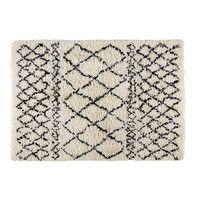 Tapis berbère en laine et coton écru/noir ...