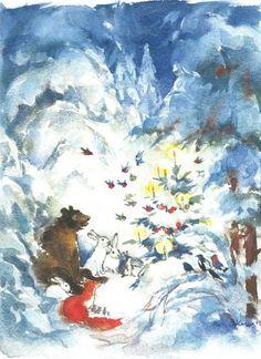 Another sweet Christmas card by Maija Karman Christmas Holidays, Christmas Cards, Children's Book Illustration, Book Illustrations, Helsinki, Karma, Childrens Books, Fairy Tales, Prints