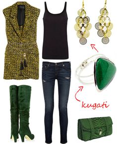 Outfit inspiration for cold days. Green desire!     Get these dangling earrings http://www.kugati.com/collections/earrings     Get this emerald-green bangle http://www.kugati.com/collections/women-bracelets     Share this if you like Kugati!