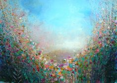 65x90 ARTFINDER: Rose and Indigo Evening by Sandy Dooley - Impressionist landscape painting of dusk. the sun has almost disappeared and it's getting a little bit chilly. the colours around move to shadowy blues, gree...
