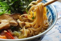A healthy take on Vietnemese Pho, this simple noodle soup gets its rich flavor from mushrooms and fresh herbs. Use your favorite noodles to create a dish that's just right for you, or your diet. I used chewy wheat noodles, but rice noodles, soba, ramen, or gluten free noodles would be just as yummy. Use tamari instead of soy sauce for a gluten free dish.
