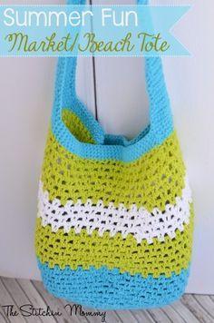 Summer Fun Market/Beach Tote www. - - Summer Fun Market/Beach Tote www.thestitchinmo… Summer Fun Market/Beach Tote www. Crochet Beach Bags, Crochet Market Bag, Crochet Tote, Crochet Handbags, Crochet Purses, Crochet Summer, Crochet Baskets, Crochet Skirts, Blanket Crochet