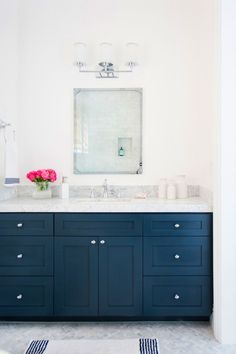 A clean and crisp look for the bathroom.