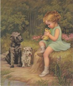 Little girl with dogs