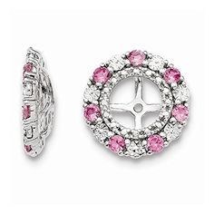 Sterling Silver Created Pink Sapphire Earring Jacket -- Want to know more, click on the image.