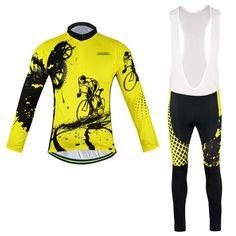 Men's Yellow Long Sleeve Cycling Jersey Set #Cycling #CyclingGear #CyclingJersey #CyclingJerseySet