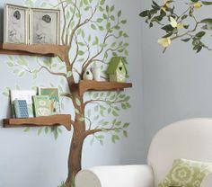 Farb- und Wandgestaltung im Kinderzimmer - 77 tolle Ideen wall design child's room wall color blue-gray sticker tree déco