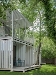 Squirrel Park is a scheme of four houses made from converted shipping containers in Oklahoma City, US, by Allford Hall Monaghan Morris. Converted Shipping Containers, Shipping Container Buildings, Shipping Container House Plans, Container Houses, Container Design, Container Cabin, Cargo Container, Container Store, Metal Stud Framing
