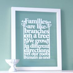 Family Tree Quote Papercut Wall Art