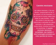 Caveira mexicana Watercolor Tattoo, Tattoos, Tattoo Meanings, Mexican Skulls, Paper, Craft, Mexican Meals, Tatuajes, Tattoo