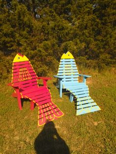 Newest fish adirondack chairs by Patty Levy Crazy Creations in Arley