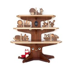 Woodland Happy Tree Bookshelf with 4 Bookends