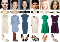 Image & Style Identity Cheat Sheet 006 - Classic Dress Styles: My best guess for Classic Ethereal - Sasha Pivovarova, Classic Natural - Marion Cotillard, Dramatic Classic - Michelle Dockery, my guess for Classic Gamine - Audrey Tautou, my guess for Classic Ingenue - Elle Fanning, Romantic Classic - Rose Byrne.