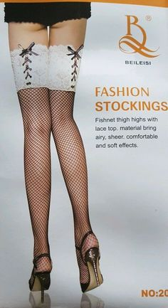 8b729803e62 Hosiery   Socks · Sexy Ladies Black Mesh   White Lace Gift Over Knee High  Stocking Hold Ups-S