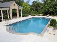 Exceptional Geometric Pool   Dark Coping I Like The Pavers That Contrast The Concrete