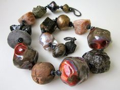 The Image of Man -primitive chunky assemblage red violet silver raku ceramic bead, peach moonstone, antique trade bead, pearl, copper choker by LoveRoot