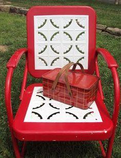 retro metal chair & picnic basket