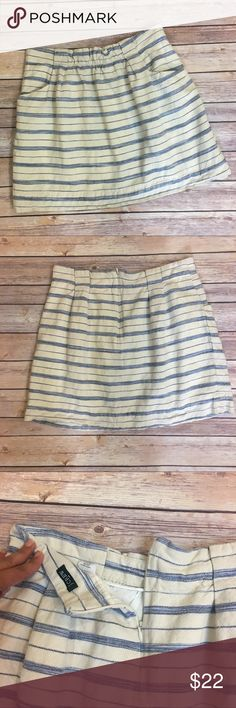 "J.Crew Factory Striped Cream Blue Skirt J.Crew Factory Striped Cream Blue Skirt. Size 4. 2 front functional pockets. Back zipper, hook and eye closure. Fully lined. Waist flat 15"". Length 17"". J.Crew Factory Skirts Mini"