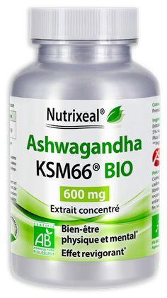 Ashwagandha BIO : extrait concentré > 5% de withanolides, 600mg / gélules. Complément alimentaire sans excipient, fabriqué en France.