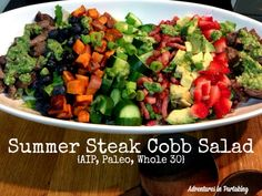 This AIP cobb salad is packed with the flavors of the summer with fresh veggies and juicy berries all topped with a fresh grilled steak and tossed in a simple cilantro salad dressing. It's perfect to make the day after grilling out with leftover steaks. Paleo Salad Recipes, Beef Recipes, Healthy Recipes, Fodmap Recipes, Barbecue Recipes, Barbecue Sauce, Grilling Recipes, Bacon Muffin, Cilantro Salad Dressings