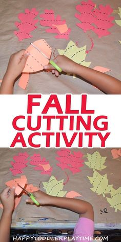 Leaf Cutting Activity - HAPPY TODDLER PLAYTIME This Leaf Cutting Activity is super simple to create and makes a great scissors skills activity for toddlers and preschoolers! Preschool Themes, Preschool Lessons, Preschool Learning, Toddler Preschool, Classroom Activities, Learning Activities, Teaching, Physical Activities, Physical Education