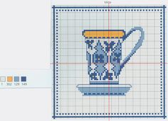 Coffee free cross stitch pattern from www.coatscrafts.pl (Uses Anchor embroidery floss)