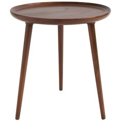 Danish Round Tripod Table by Selig | From a unique collection of antique and modern side tables at https://www.1stdibs.com/furniture/tables/side-tables/