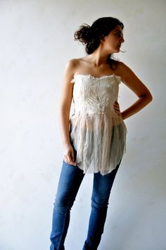 Earthy fairy strapless top made with tattered pieces of silk chiffon, lace and eco print raw silk. I hand dyed the fabric with herbs which gave the top